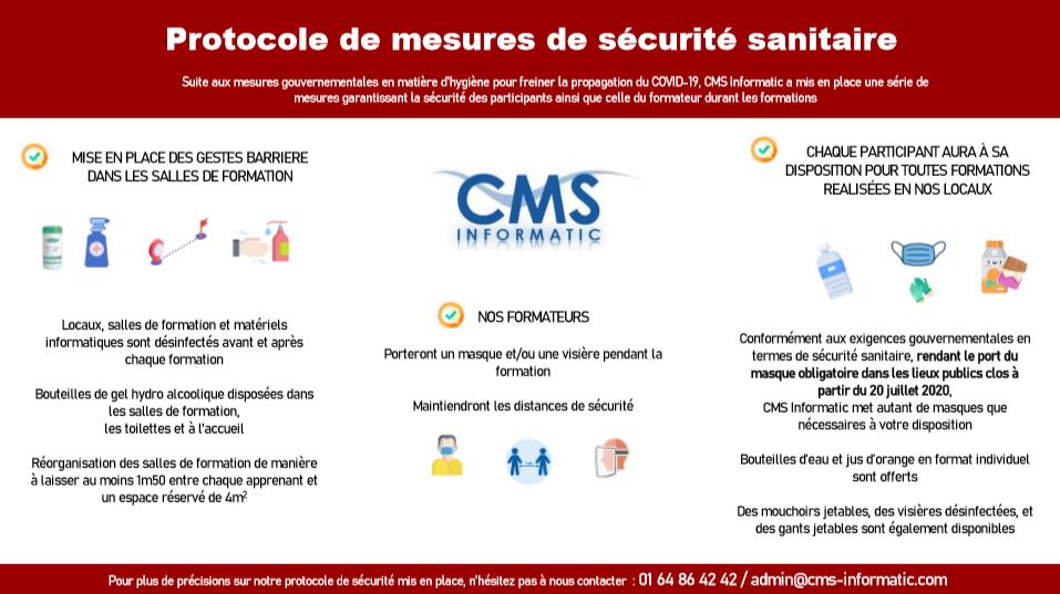 Plaquette Gestes Barrières Protocole de sécurité sanitaire CMS Informatic