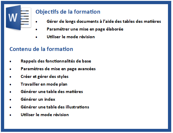 Formation Atelier Word Longs documents CMS Informatic Organisme de formation