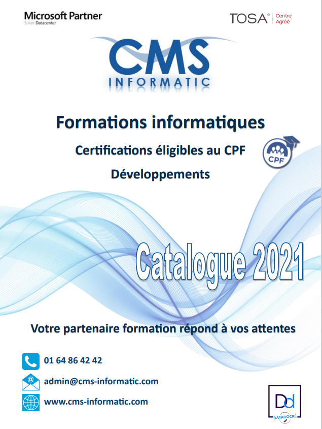 Catalogue formations CMS Informatic 2021